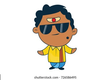 Cute South Indian Man Character with a swag. Vector Illustration. Isolated on white background.