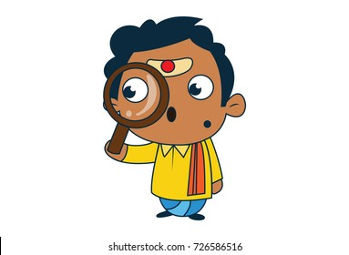 Cute South Indian Man Character with a magnifying glass in hand. Vector Illustration. Isolated on white background.