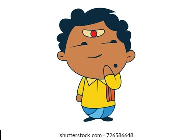Cute South Indian Man Character . Vector Illustration. Isolated on white background.