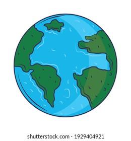 cute space earth map cartoon