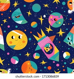 Cute space flat cartoon seamless pattern. Galaxy vector illustration for kids babies. Geometric texture planet, moon, stars, saturn space. Cosmos science print nursery