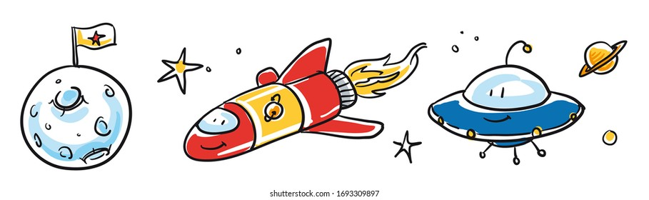 Cute space ship and alien set, with moon, planet and stars. Hand drawn cartoon sketch vector illustration, whiteboard marker style coloring.