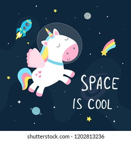 Cute space unicorn flat vector illustration.