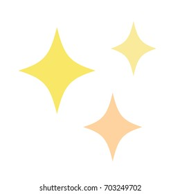 Cute sparkle stars in yellow and light orange. Vector illustration drawing. Set of three golden glitter stars.