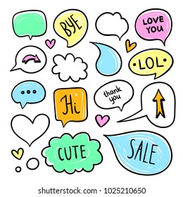 Cute speech bubbles and thought clouds. Messaging dialog elements