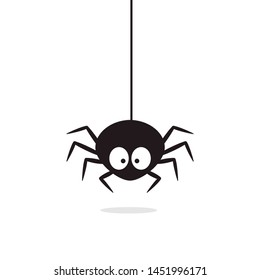 Cute Spider hanging on cobweb. Halloween character - Vector