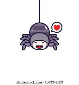 Cute spider mascot vector design