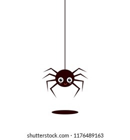 Cute spider on white background