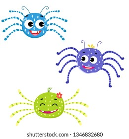 cute spiders for kids vector illustration