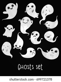 Cute and spooky ghosts set. Watercolour imitation.