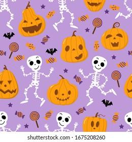 Cute spooky orange pumpkin, skeleton, bat, lollipop and candy seamless pattern. Halloween holidays cartoon character set. Trick or treat background. -Vector