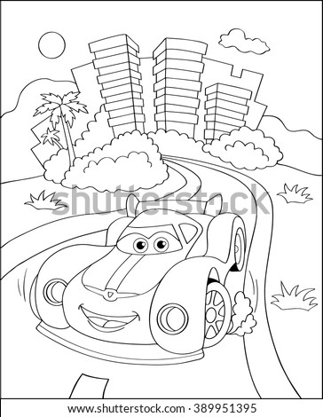 Cute Sport Car City Coloring Page Stock Vector Royalty Free