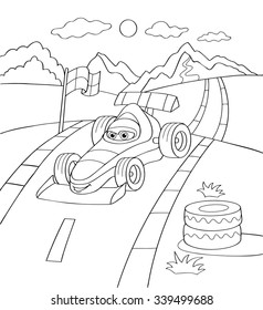 Cute sport car, coloring page illustration. Coloring book outdoor sport theme. Funny car isolated on white background. eps10 vector illustration.