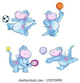 cute sport dino vector set