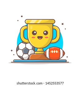 Cute Sport Trophy with Soccer Ball and Rugby Vector Illustration. Winner Cup. Trophy Champion Award Victory. Flat Cartoon Style Suitable for Web Landing Page,  Banner, Flyer, Sticker, Card, Background