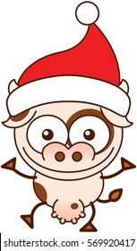 Cute spotted cow with pointy ears, wide muzzle, big udder and wearing a Christmas Santa hat while wide opening its eyes, stretching its arms, smiling enthusiastically and greeting