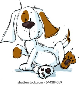 cute spotty dog cartoon - black sketch