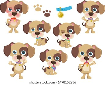Cute Spotty Dogs Vector Set One