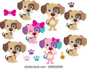Cute Spotty Dogs Vector Set Two