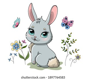 Cute spring bunny in garden with flowers and flying butterflies. Cartoon hand drawn vector illustration.