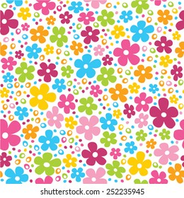 Cute spring flowers and dots seamless pattern