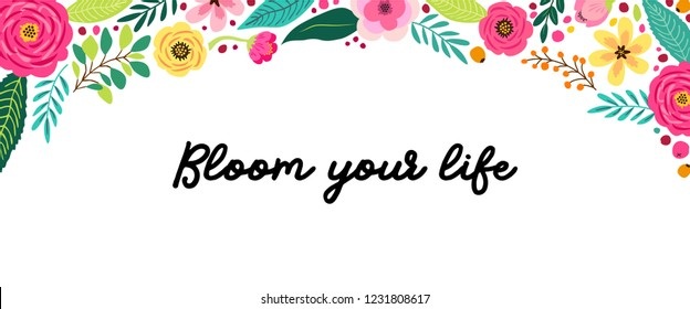 Cute Spring Flowers horizontal banner