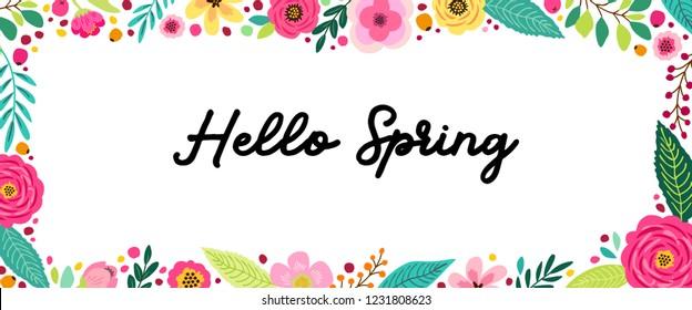 Cute Spring Flowers horizontal banner