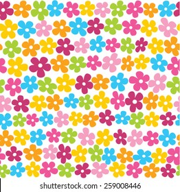 Cute spring flowers in vibrant colors seamless background