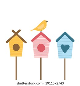 Cute spring illustration with birds and birdhouses. Cute springtime flat hand drawn cartoon style vector illustration isolated on white background.
