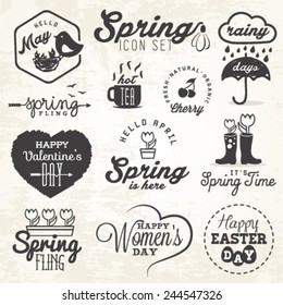 Cute Spring Illustrations and Badges Set