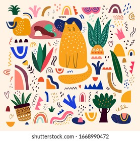 Cute spring pattern with cat. Decorative abstract illustration with colorful doodles. Hand-drawn modern illustration with cats, flowers, abstract elements