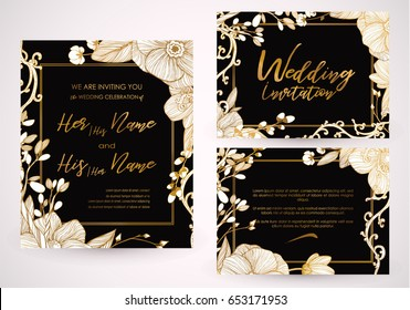 Cute spring and summer template for wedding, valentines day invitation card suite. Floral pattern, romantic flowers. Imitation of engraving. Hand drawn vector illustration