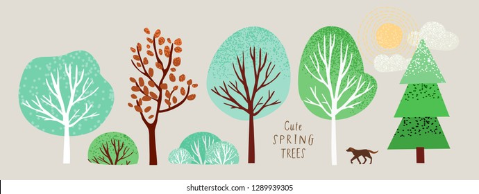 cute spring trees, vector isolated illustration of trees, leaves, fir trees, shrubs, sun, snow and clouds, elements of nature to create a landscape