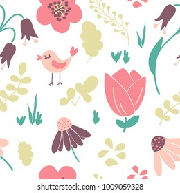 Cute spring vector seamless pattern with little birds, flowers and leaves. May be used for surface or apparel design.