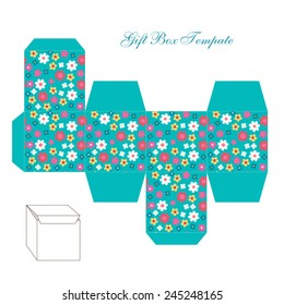 Cute square gift box template with retro floral ornament to print, cut and fold!