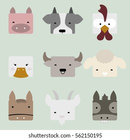 Cute square-shaped faces of farm animals, including pig, cow, chicken, duck, buffalo, sheep, horse, goat, and donkey, for multipurpose usage.