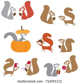 Cute squirrel characters, cartoon vector illustrations, isolated