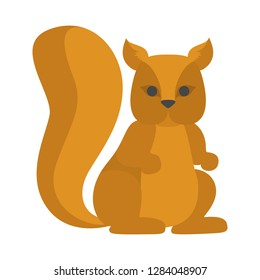 Cute squirrel from the forest. Wild animal with red fur. Isolated flat vector illustration