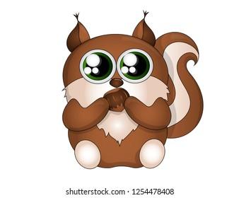 Cute squirrel with a hazelnut