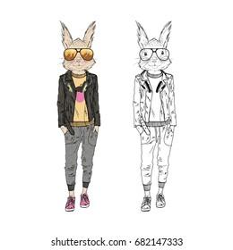 cute squirrel hipster girl, furry art illustration, fashion animals