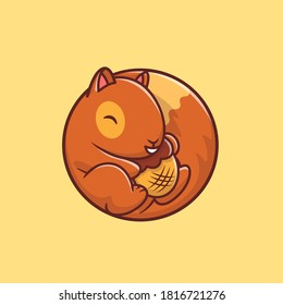 Cute Squirrel Holding Acorn Nut Cartoon Vector Icon Illustration. Animal Food Icon Concept Isolated Premium Vector. Flat Cartoon Style