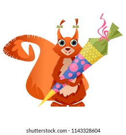 Cute squirrel holding  traditional German candy cone in the paws on the first school day. Vector illustration