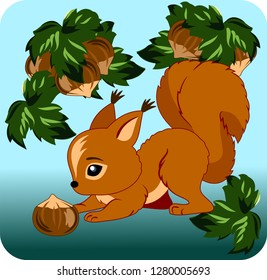 cute squirrel with a nut