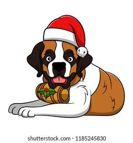 Cute St. Bernard Cartoon Dog. Vector illustration of purebred st. bernard dog.