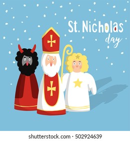 Cute St. Nicholas with devil and angel,Christmas invitation, card. Flat design, vector illustration, winter background.