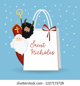 Cute St. Nicholas with devil and falling snow. Christmas invitation, greeting card. Flat kids design. Vector illustration, web banner with paper gift bag. Winter background.