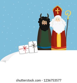 Cute St. Nicholas with devil, gift boxes and falling snow. Christmas invitation, greeting card. Flat kids design. Vector illustration, web banner with blank paper. Winter background.
