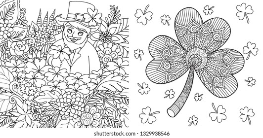 Cute St. Patrick finding clover leaf and zentangle clover leaf collection for coloring book page for kids and adult. Vector illustration