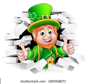 A cute St Patricks Day Leprechaun cartoon character breaking through the background brick wall and giving a thumbs up