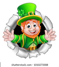 A cute St Patricks Day Leprechaun cartoon character breaking through the background